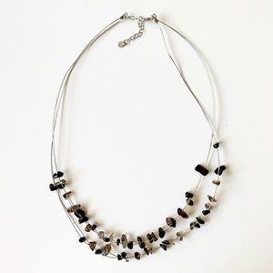 Sterling silver & black/gray 'Rock Candy' necklace